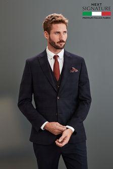 Blue Jacket Slim Fit Signature Check Suit: Jacket