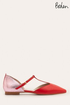 Boden Red Sienna T-Bar Flat Shoes