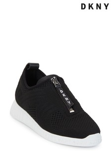 DKNY Black Slip-On Knitted Melissa Trainers