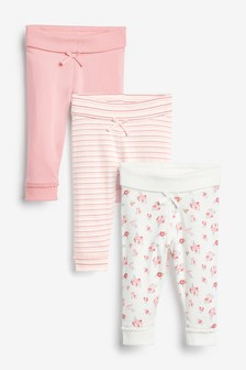 Pink/Floral/Stripe 3 Pack Leggings (0mths-3yrs)