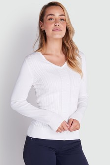 Green Lamb White Gillian Slim Fit V-Neck Cable Sweater