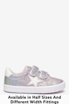 Rainbow Glitter Wide Fit (G) Star Trainers (Younger)