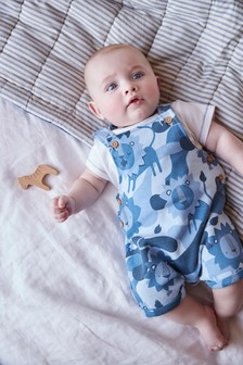 Blue GOTS Organic Jersey Lion Dungaree and Bodysuit Set (0mths-3yrs)