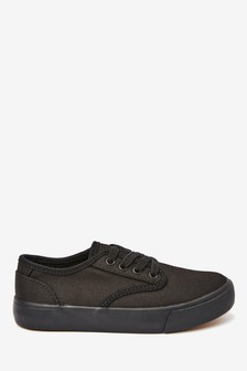Black Canvas Lace Up Shoes (Older)