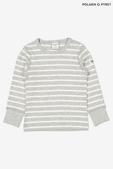 Polarn O. Pyret Grey Organic Cotton Striped Top