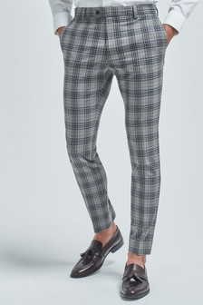 Light Grey/Blue Super Skinny Fit Check Suit: Trousers