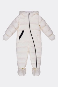 Moncler Enfant Baby Ivory Down Padded Ico Snowsuit