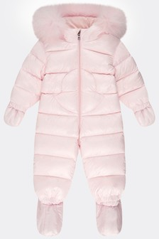 Baby Girls Light Pink Down Padded Snowsuit