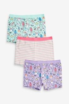 Multi 3 Pack Unicorn Shorts (2-16yrs)