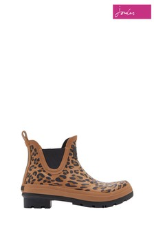 Joules Brown Wellibob Short Height Printed Welly