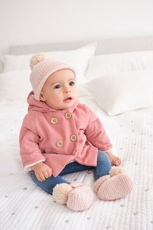 Pink Corded Hooded Jacket With Fleece Lining (0mths-2yrs)