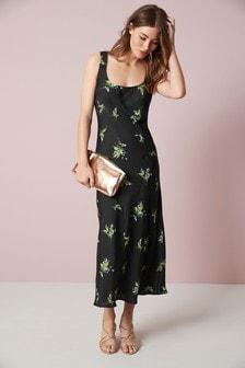 Black Floral Print Square Neck Slip Dress