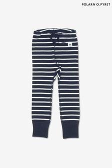 Polarn O. Pyret Blue GOTS Organic Striped Leggings