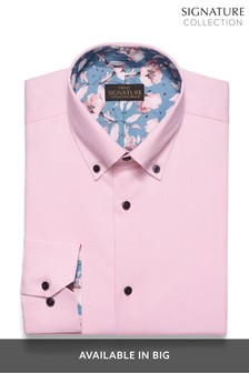 Pink Regular Fit Single Cuff Textured Stretch Signature Button Down Shirt With Trim Detail