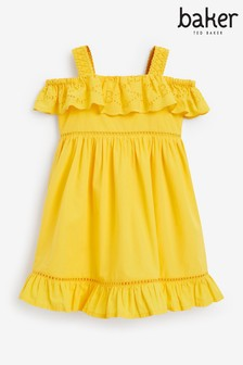 Baker by Ted Baker Yellow Ruffle Broderie Dress