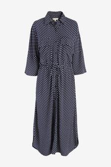 Navy Spot Utility Dress