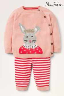Boden Pink Bunny Knitted Play Set