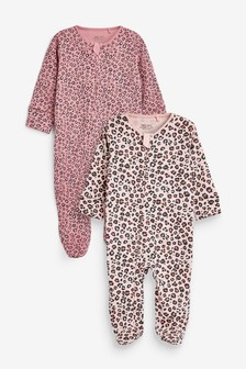 Berry Leopard 2 Pack Zip Sleepsuits (0-3yrs)