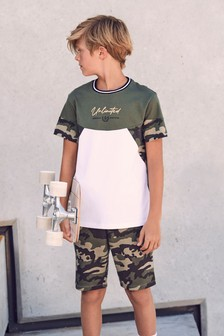 Camouflage Colour Block T-Shirt and Shorts Set (3-16yrs)