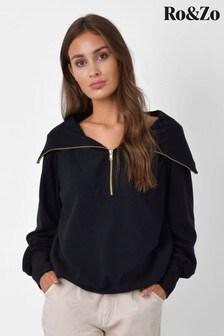 Ro&Zo Black Rib Zip Neck Sweater