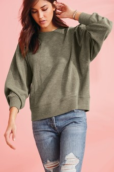 Khaki Textured Sweatshirt