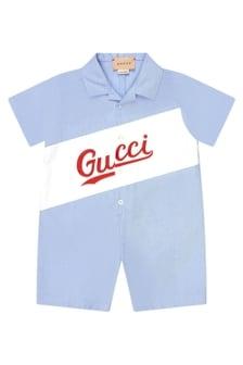 GUCCI Kids Baby Boys Blue Cotton Shortie Romper