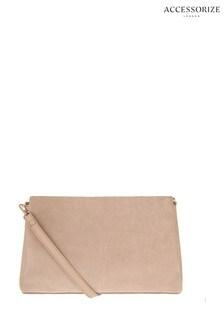 Accessorize Nude Jane Leather Clutch Bag