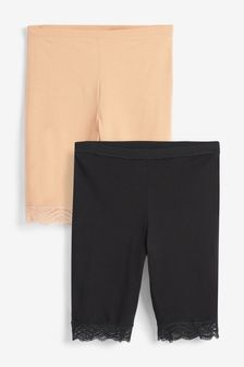 Black/Nude Cotton Blend Anti-Chafe Shorts Two Pack