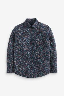 Navy Long Sleeve Floral Print Shirt (3-16yrs)