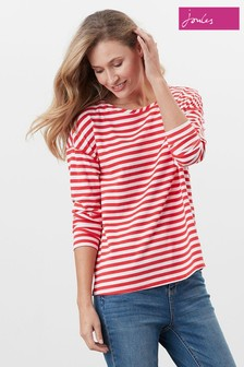 Joules Red Marina Drop Shoulder Jersey Top