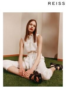 Reiss White Darcey Linen Jumpsuit