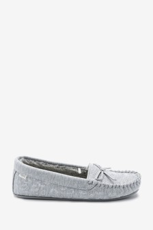 Grey Animal Moccasin Slippers