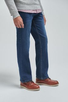 Mid Blue Bootcut Fit Jeans With Stretch