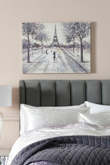 Paris Couple Scene Glitter Small Canvas