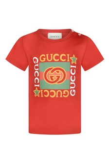 Baby Red Cotton Vintage Logo T-Shirt