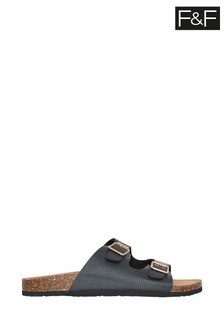 F&F Black Footbed Sandals