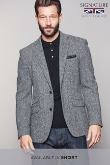 Grey Tailored Fit Harris Tweed Signature Blazer
