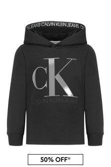 Calvin Klein Jeans Boys Black Cotton Hoody