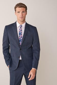 Mid Blue Slim Fit Check Suit: Jacket