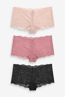 Pink Short Lace Knickers Three Pack