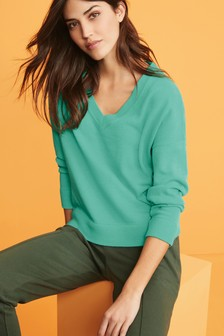 Turquoise Cosy V-Neck Jumper