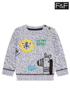 F&F Grey Animals Knitted Jumper