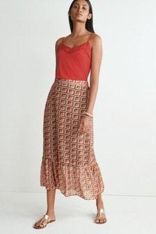 Red/Black Midi Skirt