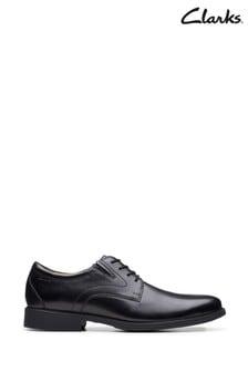 Clarks Black Leather Whiddon Plain Shoes