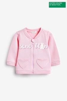Benetton Pink Logo Zip Sweater