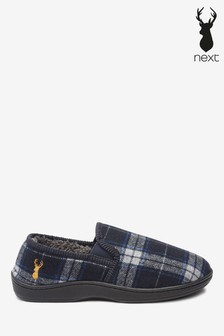 Navy Check Closed Back Slippers