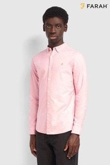Farah Pink Brewer Slim Fit Long Sleeved Shirt