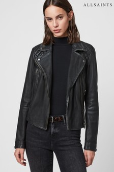AllSaints Black Cargo Leather Biker Jacket