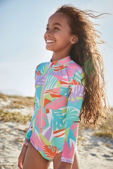Abstract Palm Long Sleeve Sunsafe Swimsuit (3-16yrs)