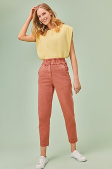 Rose Pink Elasticated Waist Tapered Jeans
